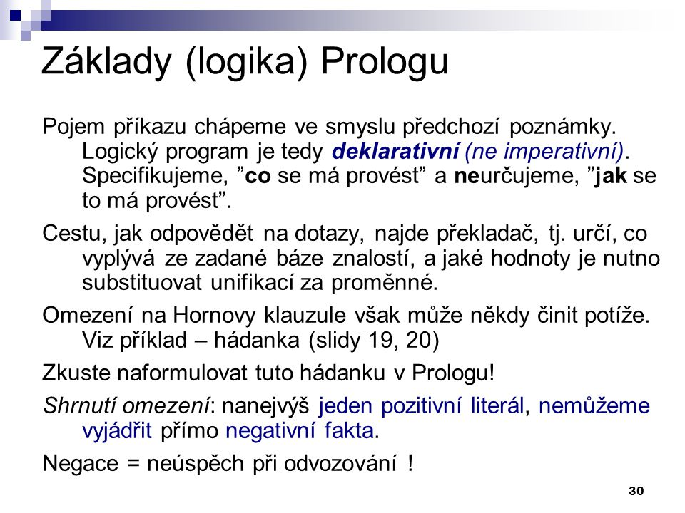 Základy (logika) Prologu