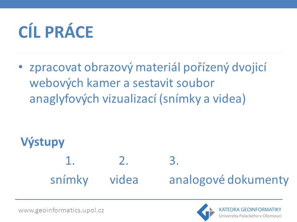 CÍL PRÁCE zpracovat obrazový materiál pořízený dvojicí webových kamer a sestavit soubor anaglyfových vizualizací (snímky a videa)