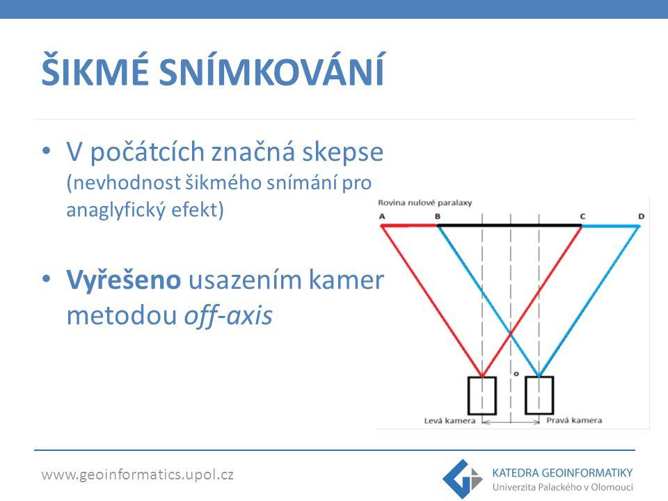 ŠIKMÉ SNÍMKOVÁNÍ V počátcích značná skepse (nevhodnost šikmého snímání pro anaglyfický efekt) Vyřešeno usazením kamer metodou off-axis.