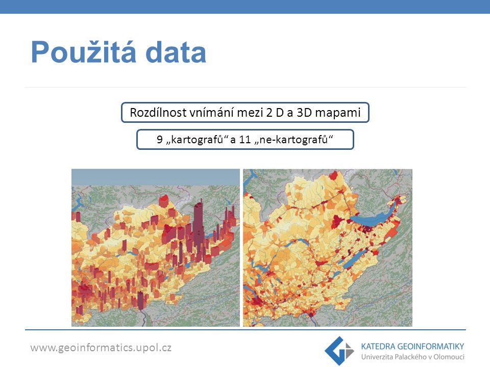 Použitá data Rozdílnost vnímání mezi 2 D a 3D mapami
