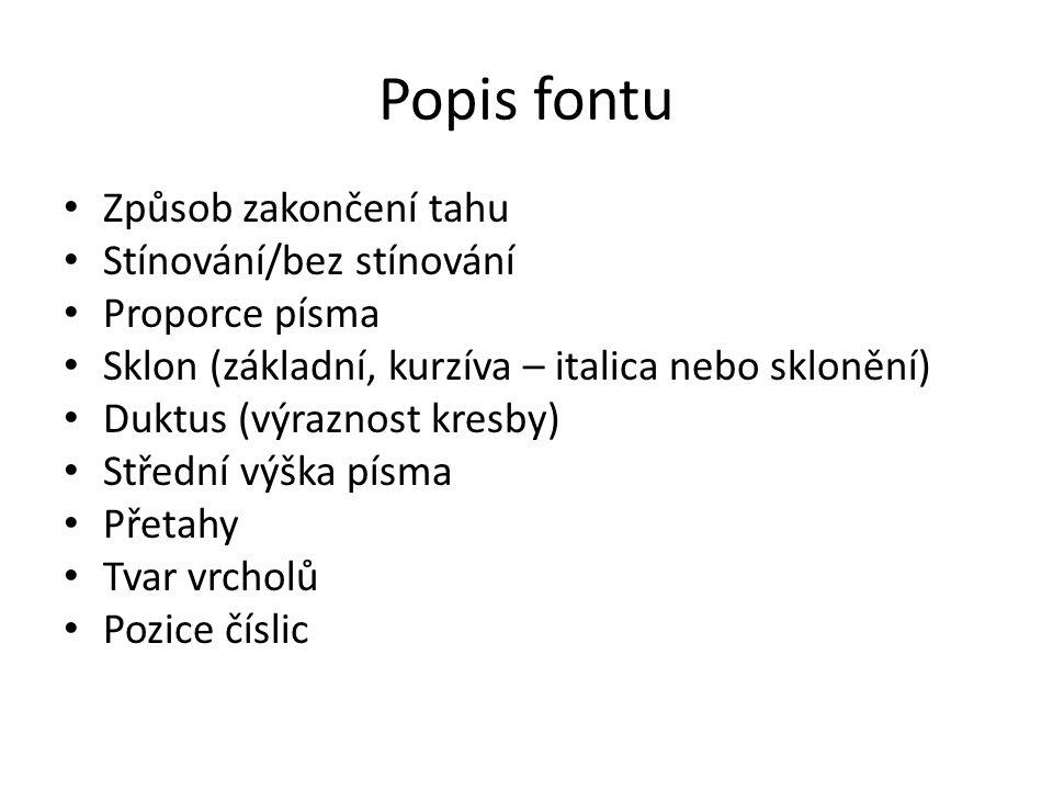Popis fontu Způsob zakončení tahu Stínování/bez stínování