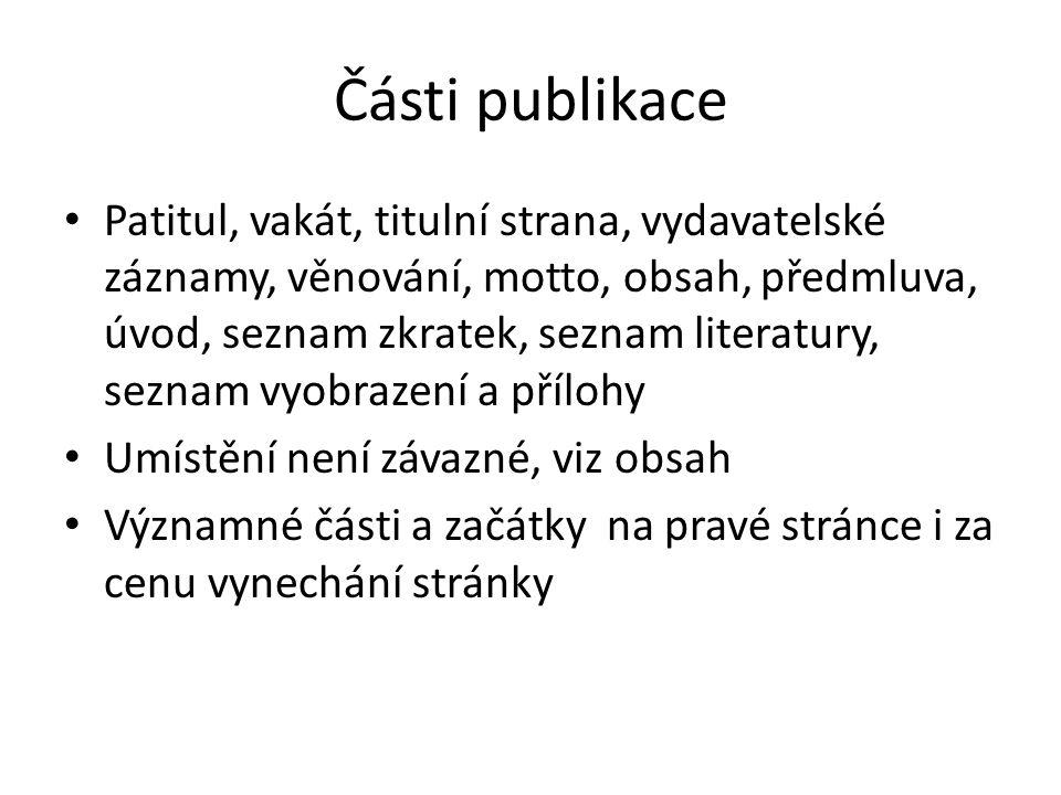 Části publikace
