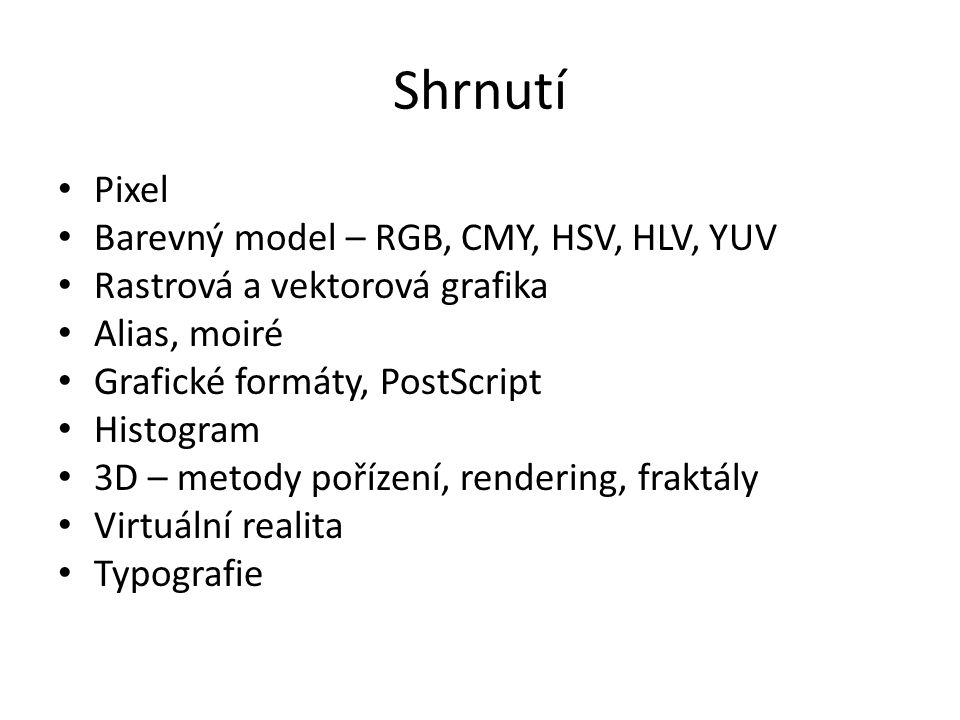 Shrnutí Pixel Barevný model – RGB, CMY, HSV, HLV, YUV