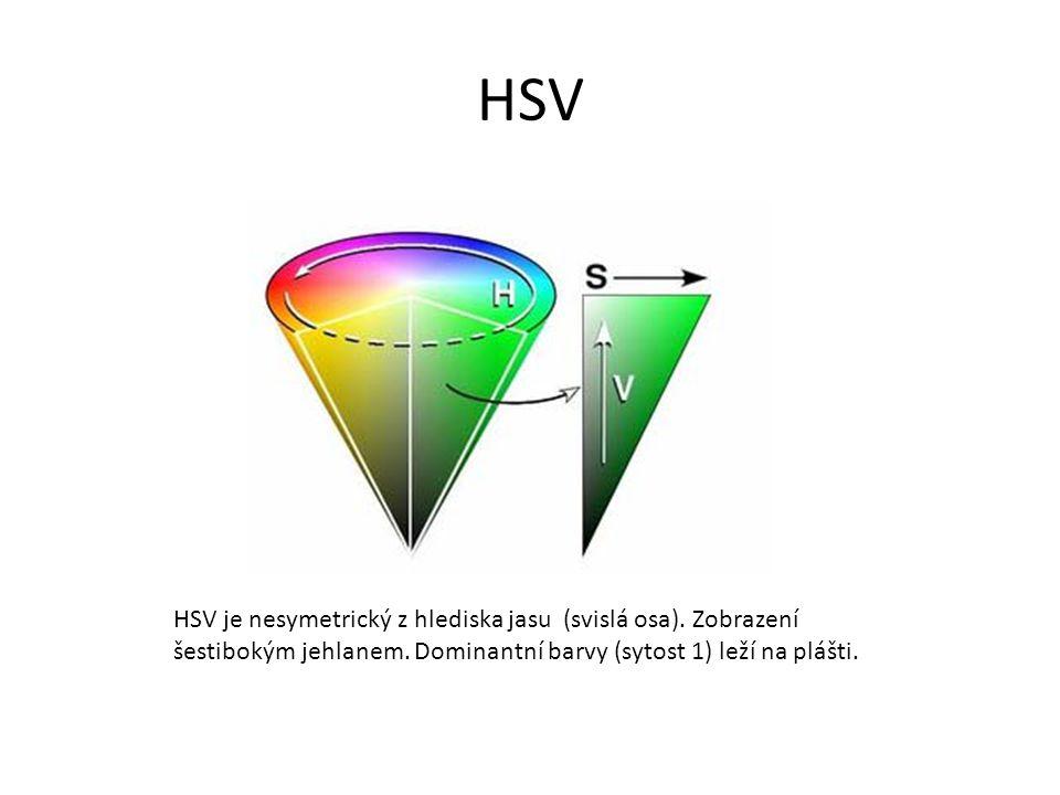 HSV HSV je nesymetrický z hlediska jasu (svislá osa).