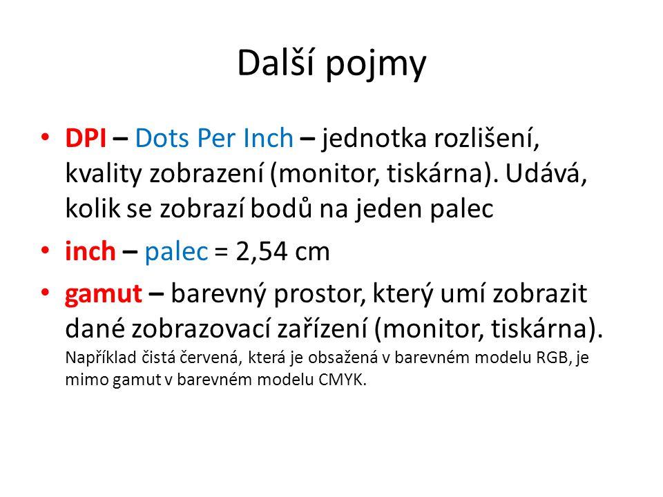Další pojmy DPI – Dots Per Inch – jednotka rozlišení, kvality zobrazení (monitor, tiskárna). Udává, kolik se zobrazí bodů na jeden palec.