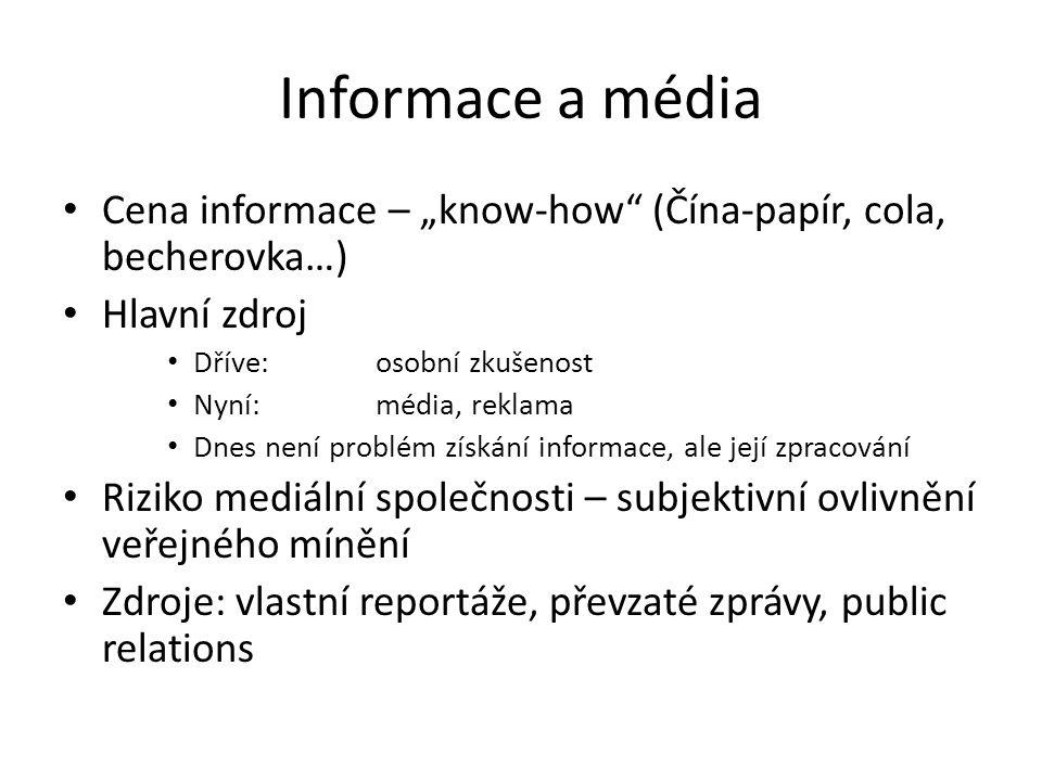 """Informace a média Cena informace – """"know-how (Čína-papír, cola, becherovka…) Hlavní zdroj. Dříve: osobní zkušenost."""