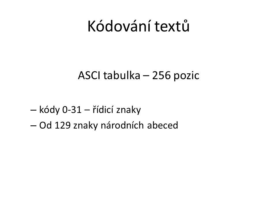 Kódování textů ASCI tabulka – 256 pozic kódy 0-31 – řídicí znaky