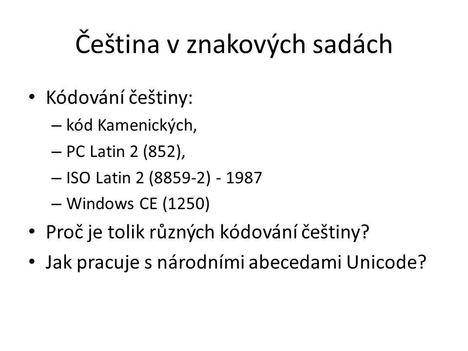 Čeština v znakových sadách
