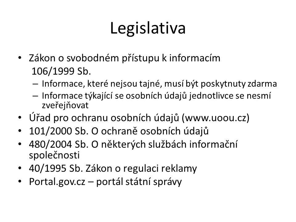 Legislativa Zákon o svobodném přístupu k informacím 106/1999 Sb.