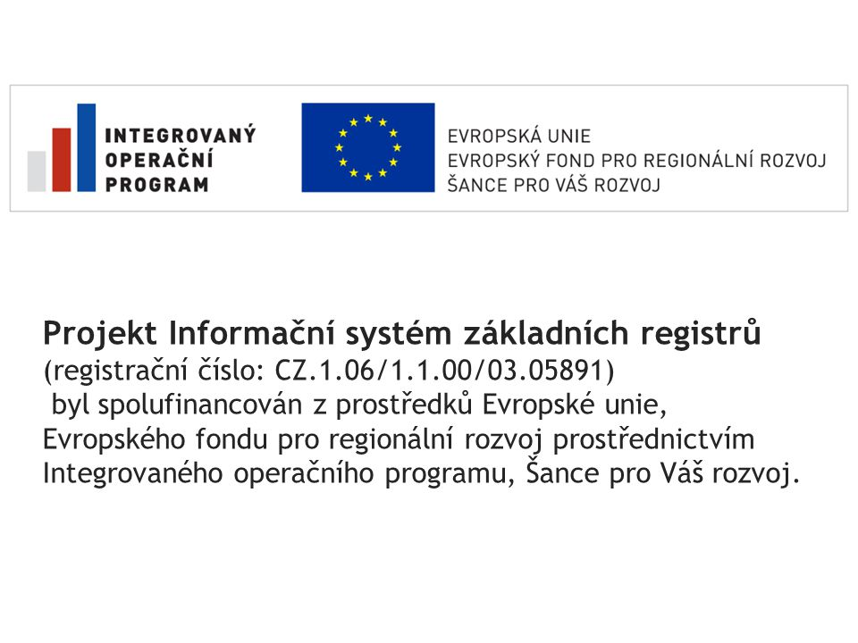 Projekt Informační systém základních registrů