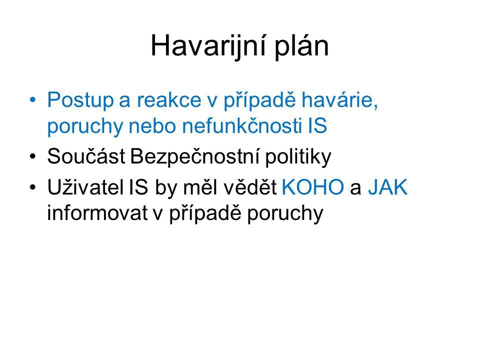 Havarijní plán Postup a reakce v případě havárie, poruchy nebo nefunkčnosti IS. Součást Bezpečnostní politiky.
