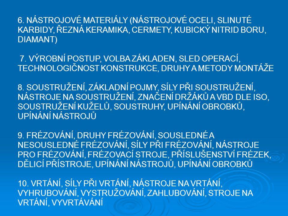 6. NÁSTROJOVÉ MATERIÁLY (NÁSTROJOVÉ OCELI, SLINUTÉ KARBIDY, ŘEZNÁ KERAMIKA, CERMETY, KUBICKÝ NITRID BORU, DIAMANT)