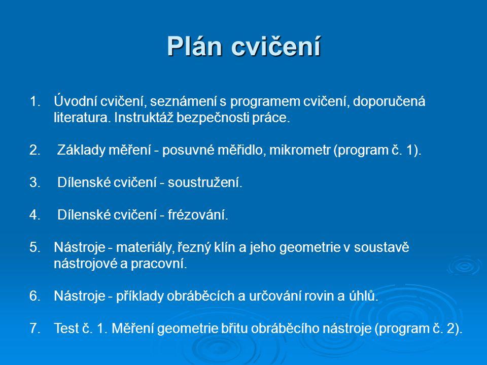 Plán cvičení Úvodní cvičení, seznámení s programem cvičení, doporučená literatura. Instruktáž bezpečnosti práce.