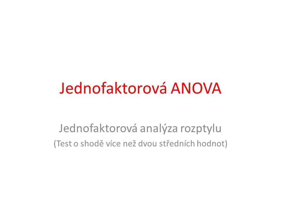 Jednofaktorová ANOVA Jednofaktorová analýza rozptylu