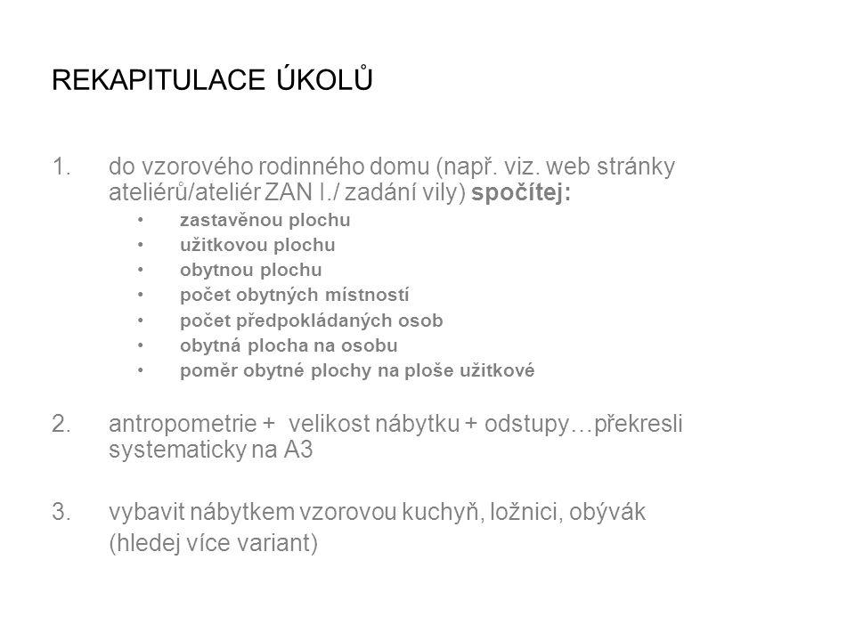 REKAPITULACE ÚKOLŮ do vzorového rodinného domu (např. viz. web stránky ateliérů/ateliér ZAN I./ zadání vily) spočítej: