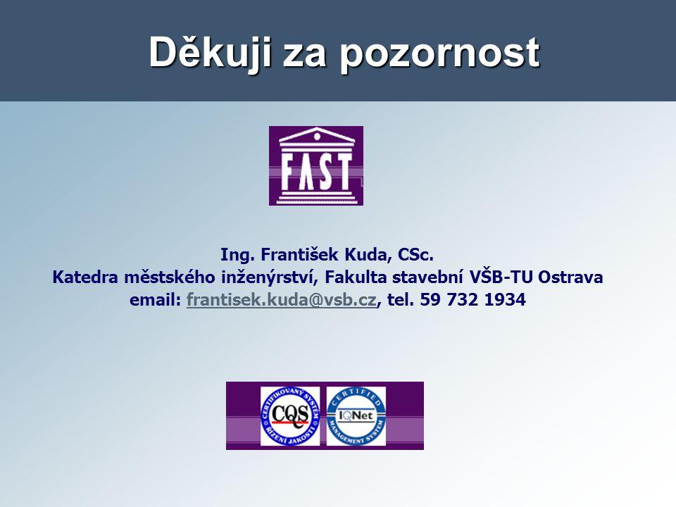 Děkuji za pozornost Ing. František Kuda, CSc.
