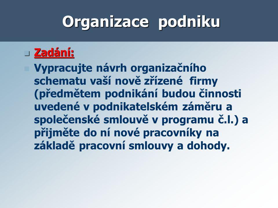Organizace podniku Zadání: