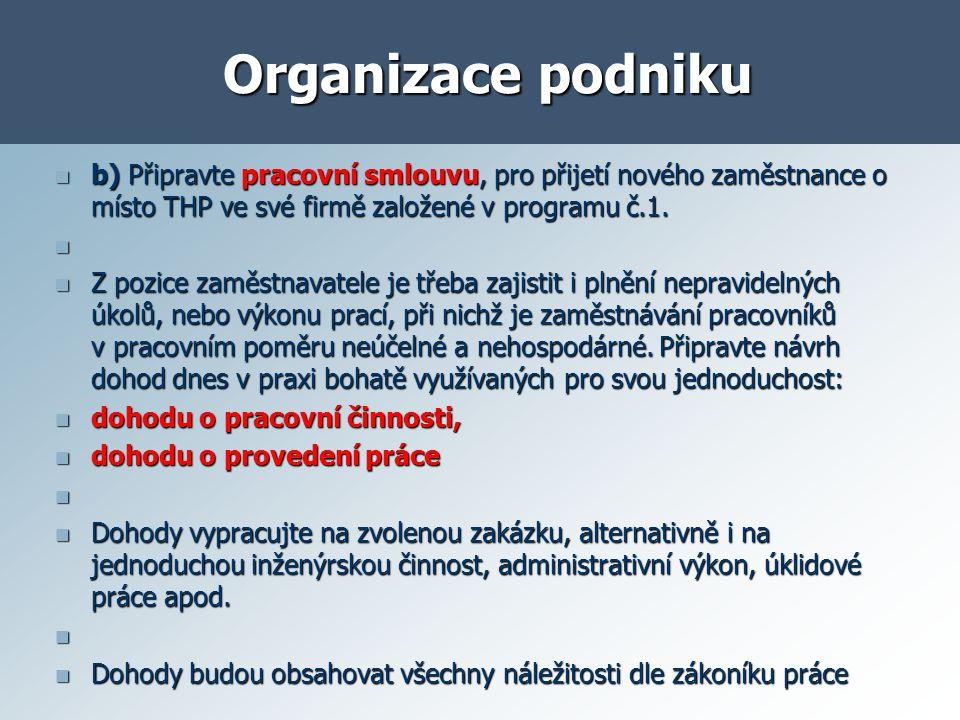 Organizace podniku b) Připravte pracovní smlouvu, pro přijetí nového zaměstnance o místo THP ve své firmě založené v programu č.1.