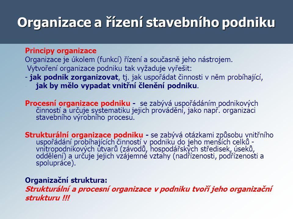Organizace a řízení stavebního podniku
