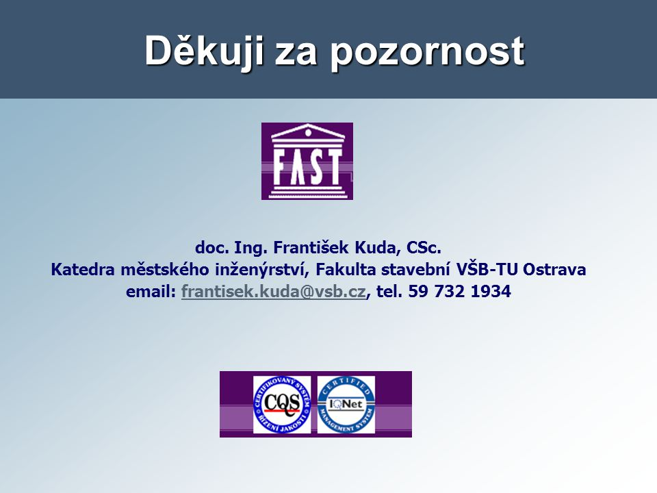 Děkuji za pozornost doc. Ing. František Kuda, CSc.