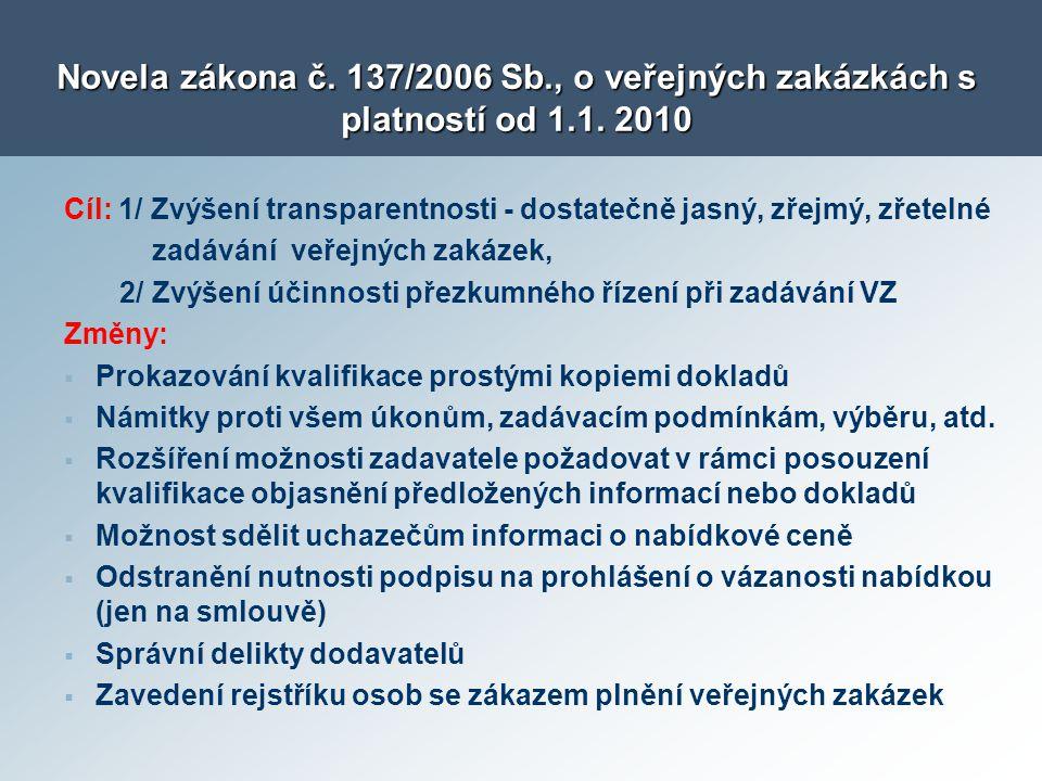 Novela zákona č. 137/2006 Sb. , o veřejných zakázkách s platností od 1