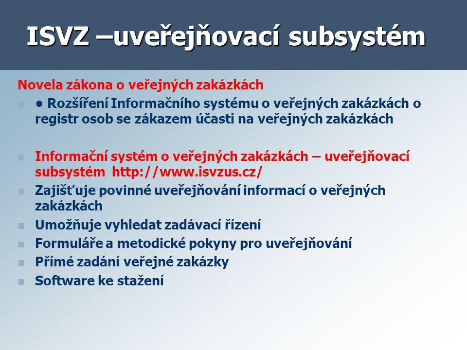 ISVZ –uveřejňovací subsystém