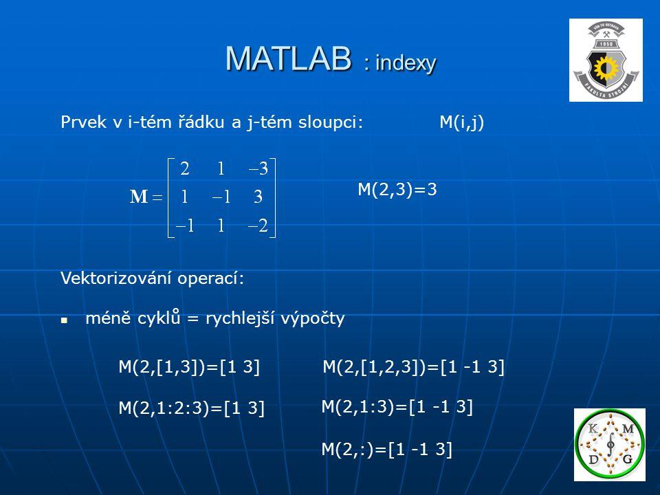 MATLAB : indexy Prvek v i-tém řádku a j-tém sloupci: M(i,j) M(2,3)=3