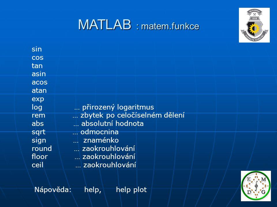 MATLAB : matem.funkce sin cos tan asin acos atan exp