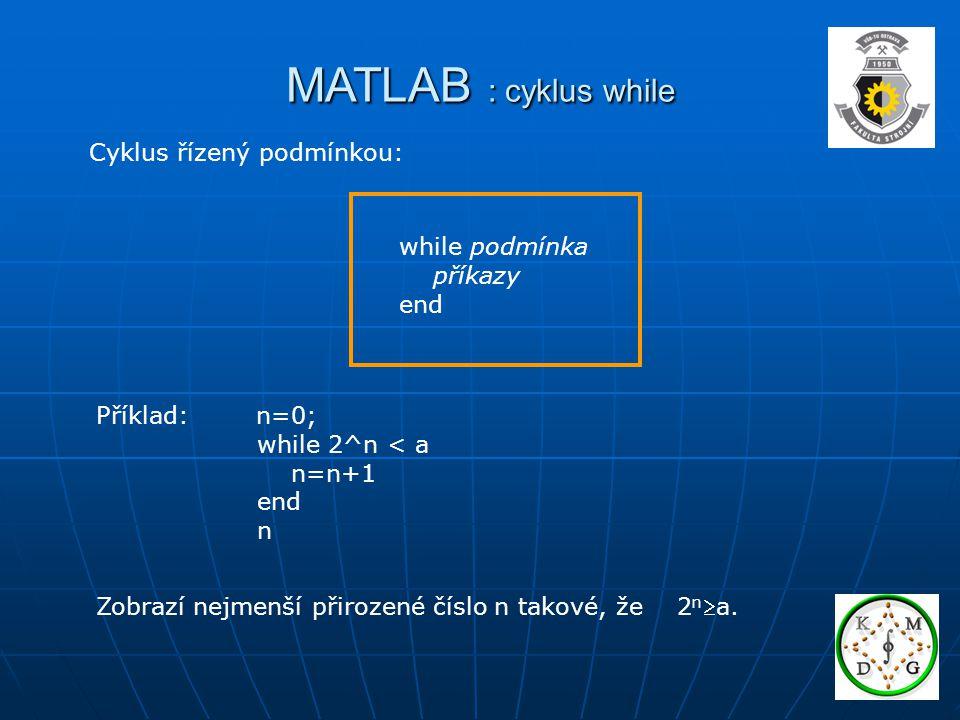 MATLAB : cyklus while Cyklus řízený podmínkou: while podmínka příkazy