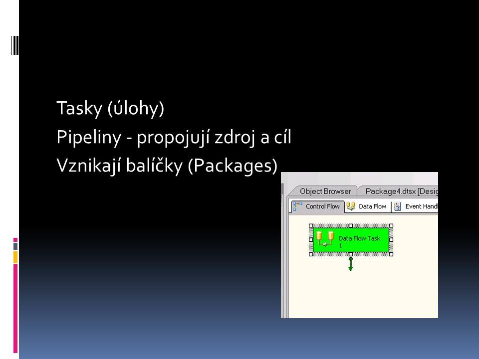 Tasky (úlohy) Pipeliny - propojují zdroj a cíl Vznikají balíčky (Packages)
