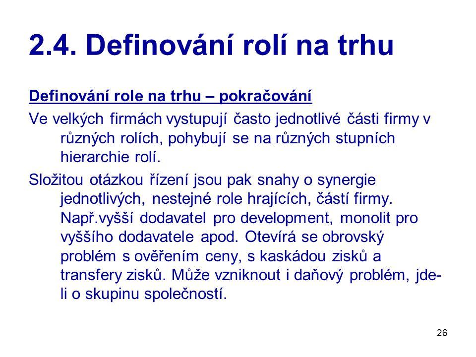 2.4. Definování rolí na trhu