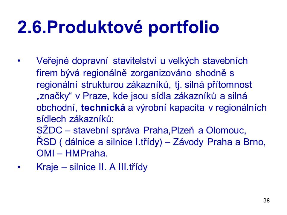 2.6.Produktové portfolio