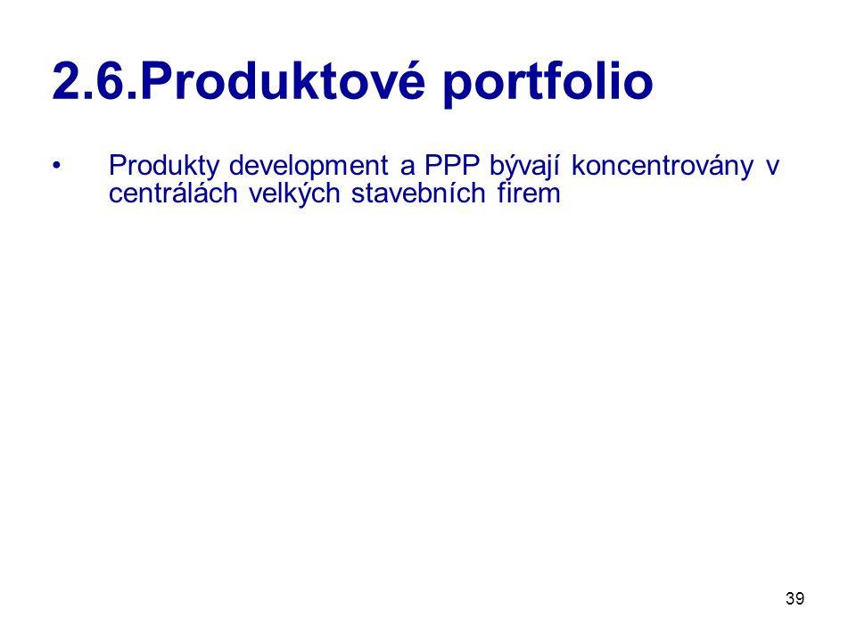 2.6.Produktové portfolio Produkty development a PPP bývají koncentrovány v centrálách velkých stavebních firem.