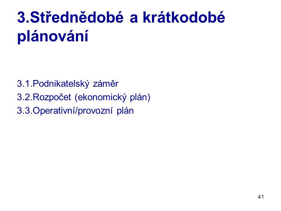 3.Střednědobé a krátkodobé plánování