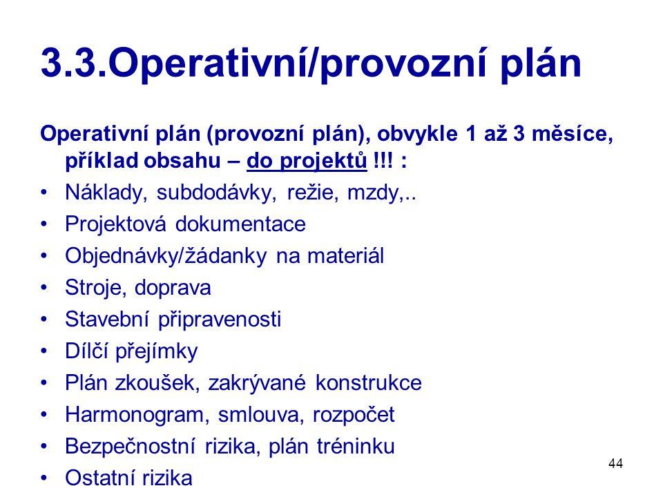 3.3.Operativní/provozní plán