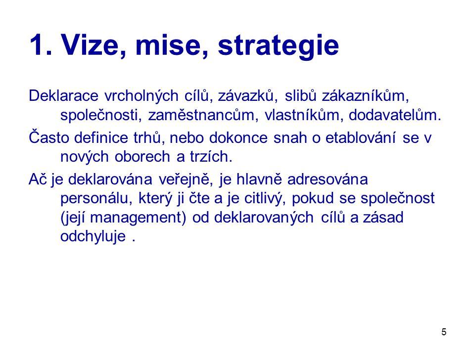 1. Vize, mise, strategie Deklarace vrcholných cílů, závazků, slibů zákazníkům, společnosti, zaměstnancům, vlastníkům, dodavatelům.