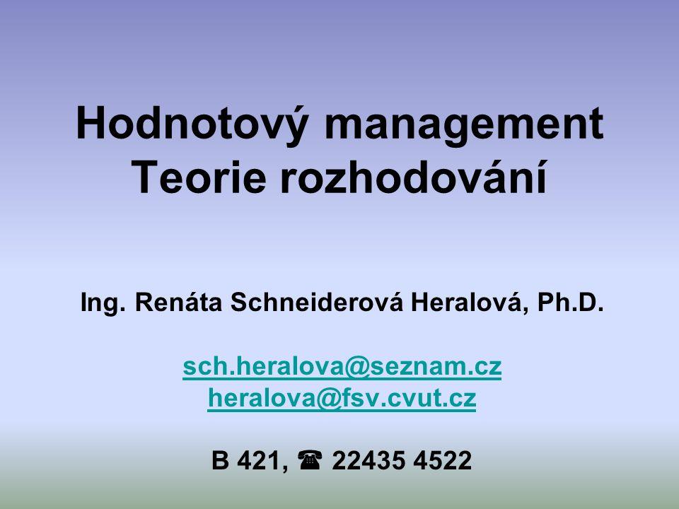 Hodnotový management Teorie rozhodování