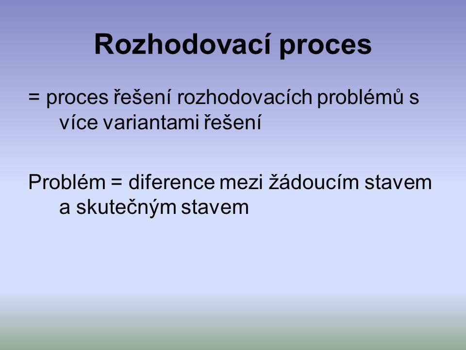 Rozhodovací proces = proces řešení rozhodovacích problémů s více variantami řešení.