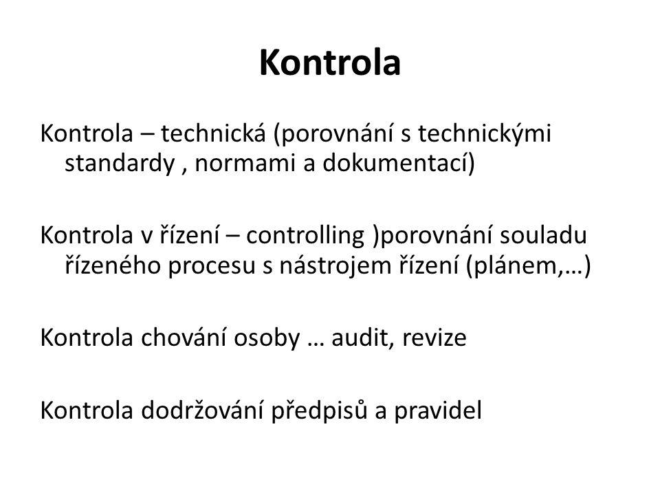 Kontrola Kontrola – technická (porovnání s technickými standardy , normami a dokumentací)