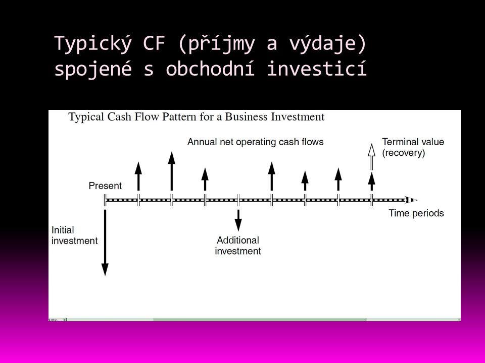 Typický CF (příjmy a výdaje) spojené s obchodní investicí