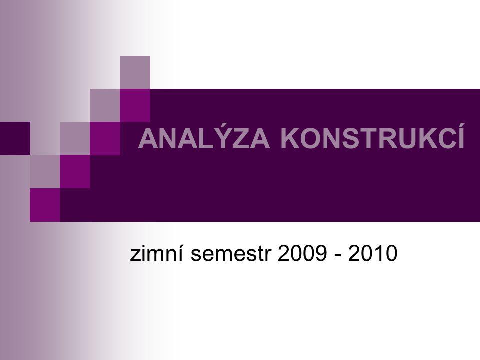 ANALÝZA KONSTRUKCÍ zimní semestr 2009 - 2010