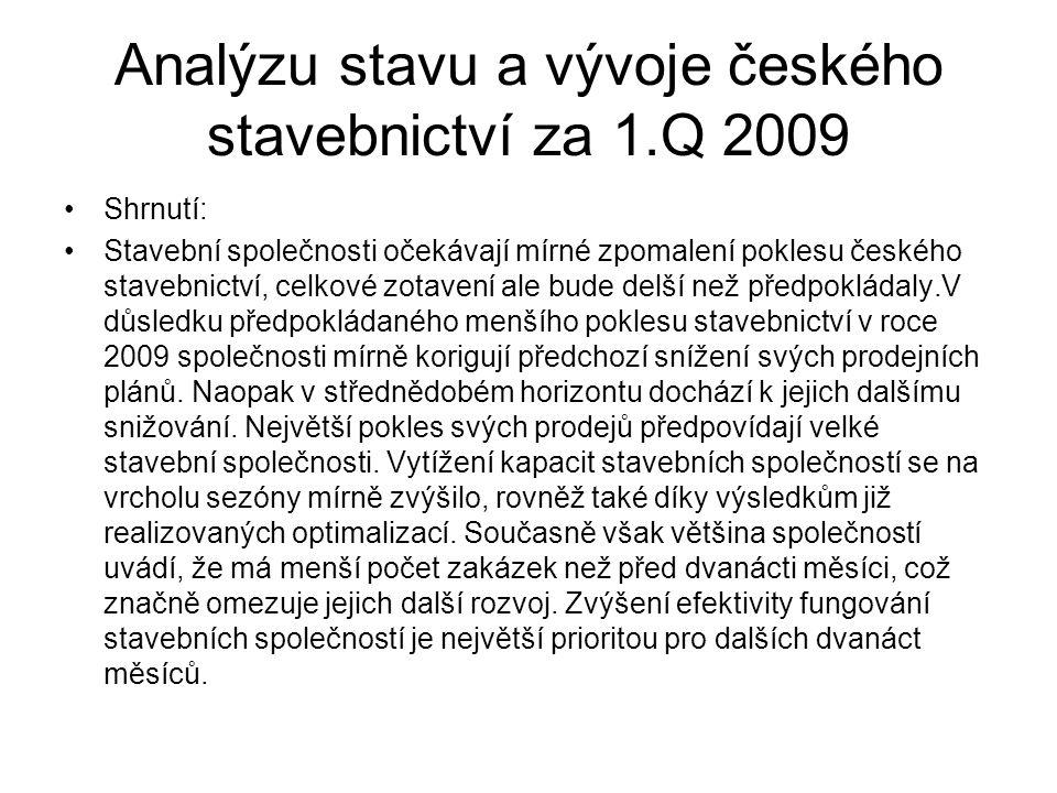 Analýzu stavu a vývoje českého stavebnictví za 1.Q 2009