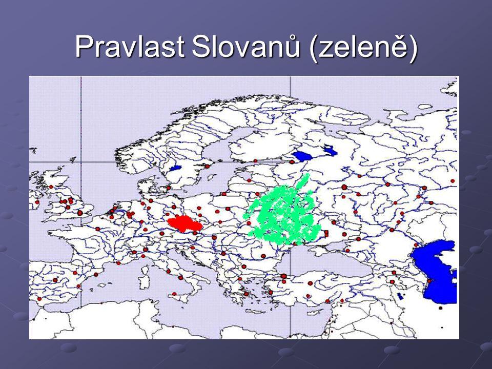 Pravlast Slovanů (zeleně)