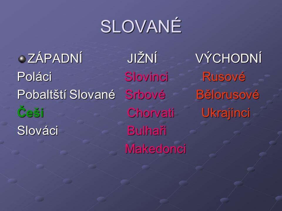 SLOVANÉ ZÁPADNÍ JIŽNÍ VÝCHODNÍ Poláci Slovinci Rusové