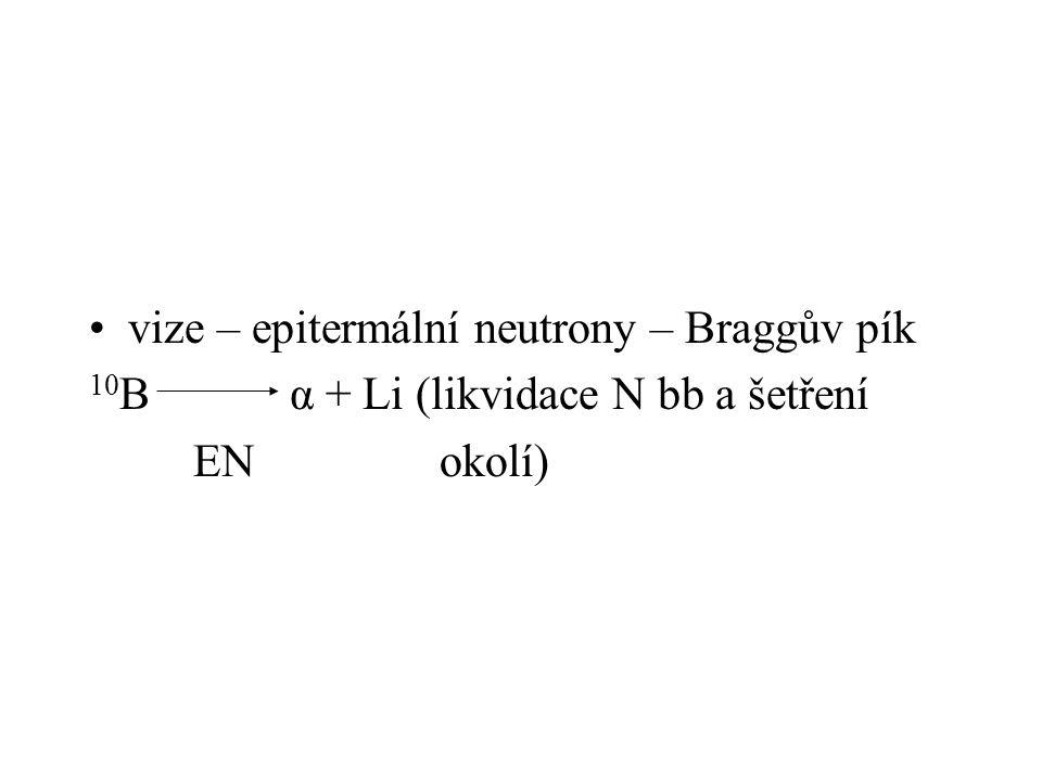 vize – epitermální neutrony – Braggův pík