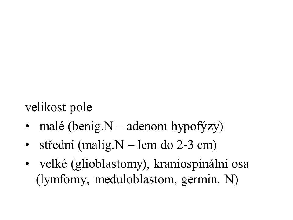velikost pole malé (benig.N – adenom hypofýzy) střední (malig.N – lem do 2-3 cm)
