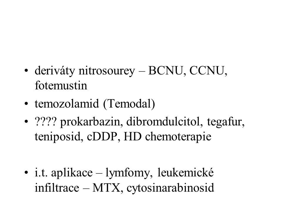 deriváty nitrosourey – BCNU, CCNU, fotemustin