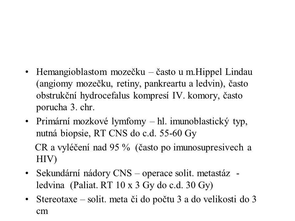 Hemangioblastom mozečku – často u m
