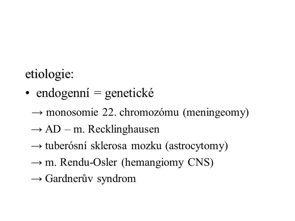 → monosomie 22. chromozómu (meningeomy)